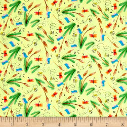 Toby Turtle Cattails And Dragonflies  Yellow Fabric