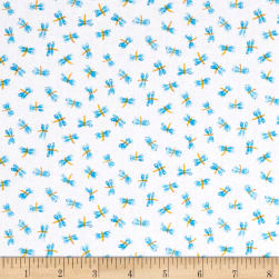 Toby Turtle Dragonflies  White Fabric