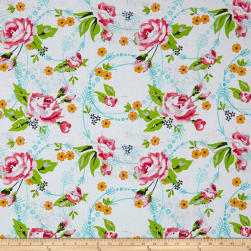 Roses & Arrows Large Rose Print White Fabric