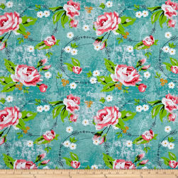Roses & Arrows Large Rose Teal