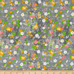 Roses & Arrows Medium Floral Gray Fabric