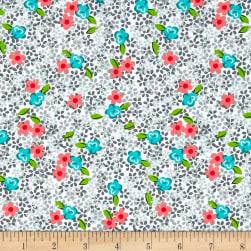 Roses & Arrows Ditsy Floral Gray Fabric