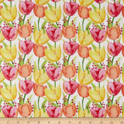 Bloom Bouquet Tulips White Fabric