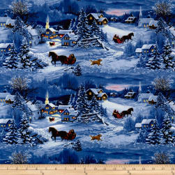 Let It Snow Night Scene With Horses Dark