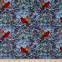 Let It Snow Cardinals Blue Fabric