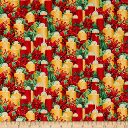 Let It Snow Candles Red Fabric