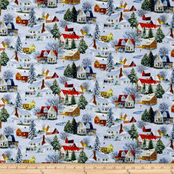 Let It Snow Homes Light Blue Fabric