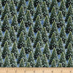 Let It Snow Pine Trees Green Fabric