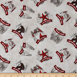 Western Greetings Christmas Horseshoes Light Gray Fabric