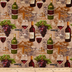Vineyard Valley Bottles, Wine Glasses, Grapes Brown Fabric
