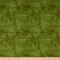 Vineyard Valley Tonal Words And Scene Green Fabric