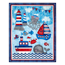 Anchor'S Away 36'' Panel Blue Fabric