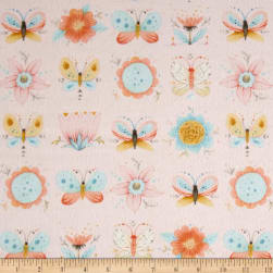 Dream Catcher'S Flannel Floral Butterfly Pink Fabric