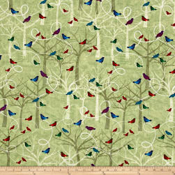 Autumn Hues Trees And Birds Green Fabric