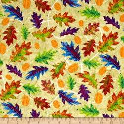 Autumn Hues Leaves Green Fabric