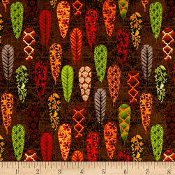 Fall Festival Feathers Brown Fabric