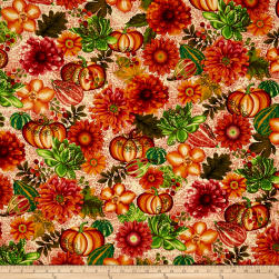 Fall Festival Flowers Cream Fabric