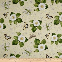 Wilmington Chantrell Magnolias and Butterflies Tan Fabric