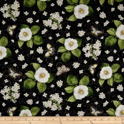Wilmington Chantrell Magnolias and Butterflies Black Fabric
