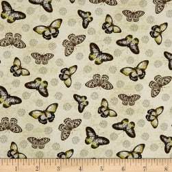 Wilmington Chantrell Butterflies Allover Tan Fabric