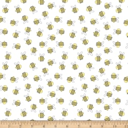 Wilmington Little Sunshine Bees Allover White Fabric