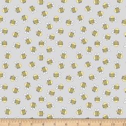 Wilmington Little Sunshine Bees Allover Gray Fabric