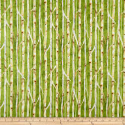 Wilmington Deer Meadow Birch Texture Green Fabric