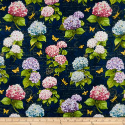 Wilmington Hydrangea Dreams Large Allover Navy Fabric