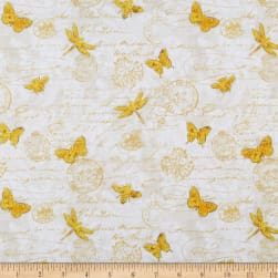 Wilmington Hydrangea Dreams Gilded Butterflies Ivory Fabric