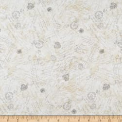 Wilmington Hydrangea Dreams Words and Stamps Ivory Fabric