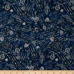 Wilmington Hydrangea Dreams Words and Stamps Navy Fabric