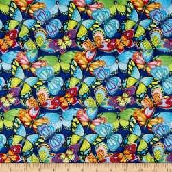 Wilmington Paradise Falls Butterflies Navy Fabric