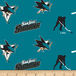 NHL Fleece San Jose Sharks Tossed Fabric