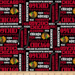 NHL Broadcloth Chicago Blackhawks Fabric