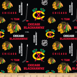 NHL Broadcloth Chicago Blackhawks Tossed Fabric