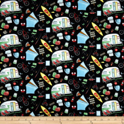 Happy Camper Tossed Camping Gear Black Fabric
