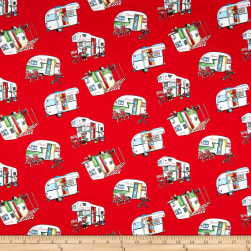Happy Camper Tossed Campers Red/Multi Fabric