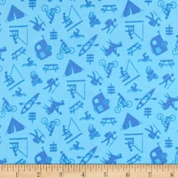 Happy Camper Camping Activities Blue Fabric