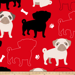 Fleece Prints Oh My Pug-ness Fleece Red Fabric