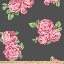 Fleece Prints Bohemian Roses Fleece Gray Fabric