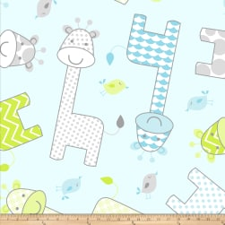 Fleece Prints Baby Giraffe Fleece Blue Fabric