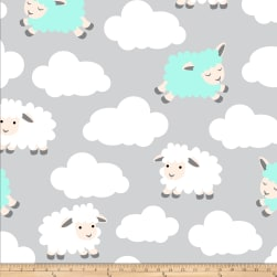 Fleece Prints Sleepy Sheep Fleece White/Teal Fabric