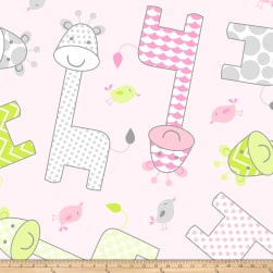 Fleece Prints Baby Giraffe Fleece Pink Fabric