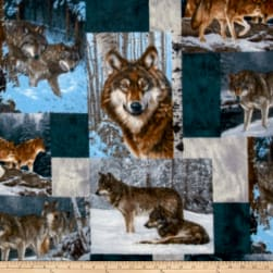 Wildlife Fleece Prints Wolves Pachwork Fleece Multi Fabric