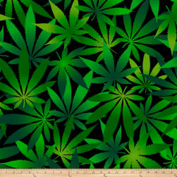David Textiles Double Brushed Fleece Cannabis Leaves Black/Green Fabric