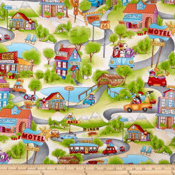 Road Trip Ladies Scenic Cream Fabric