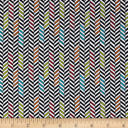 Road Trip Chevron Tire Tracks Black Fabric