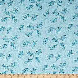 Indigo Cottage Blooming Berries Light Blue Fabric