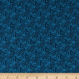 Indigo Cottage Leaf Geometric Medium Blue Fabric