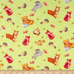 Hugs & Loves Tossed Allover Critters Green Fabric